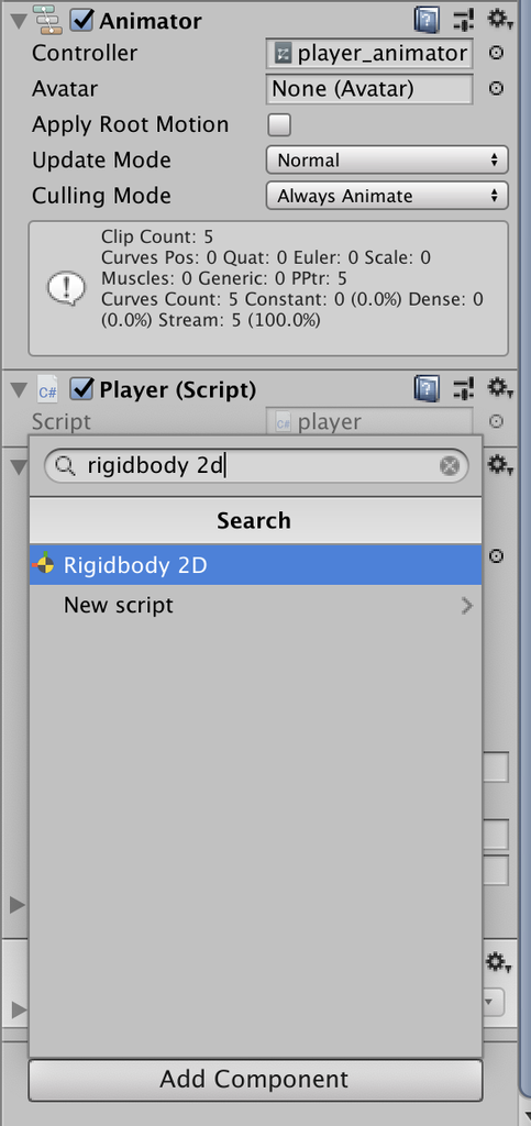 add component rigidbody2d