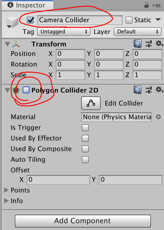 enable false polygon collider 2d