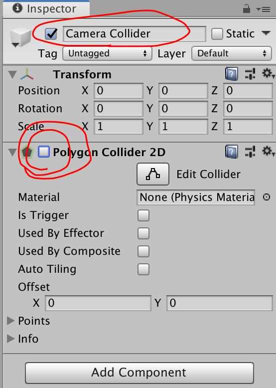enable false polygon collider 2d