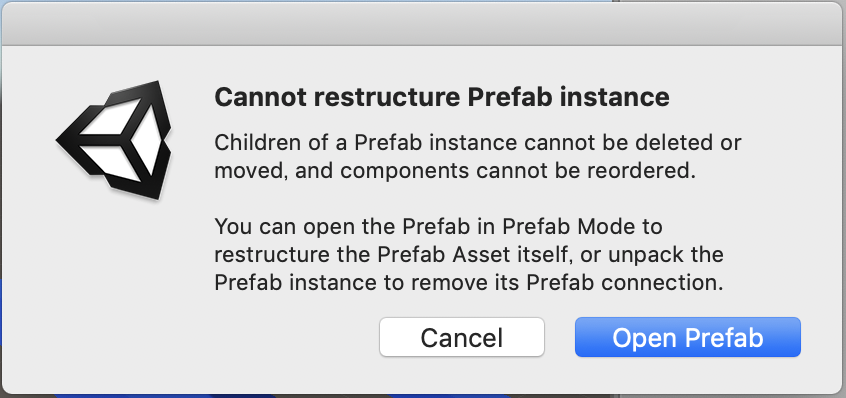 cannot restructure prefab instance