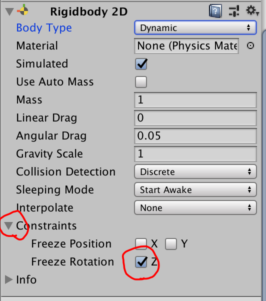 constraints freeze rotation