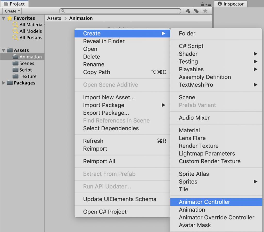 create animator controller