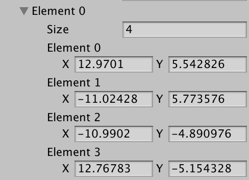 setting polygon collider elements