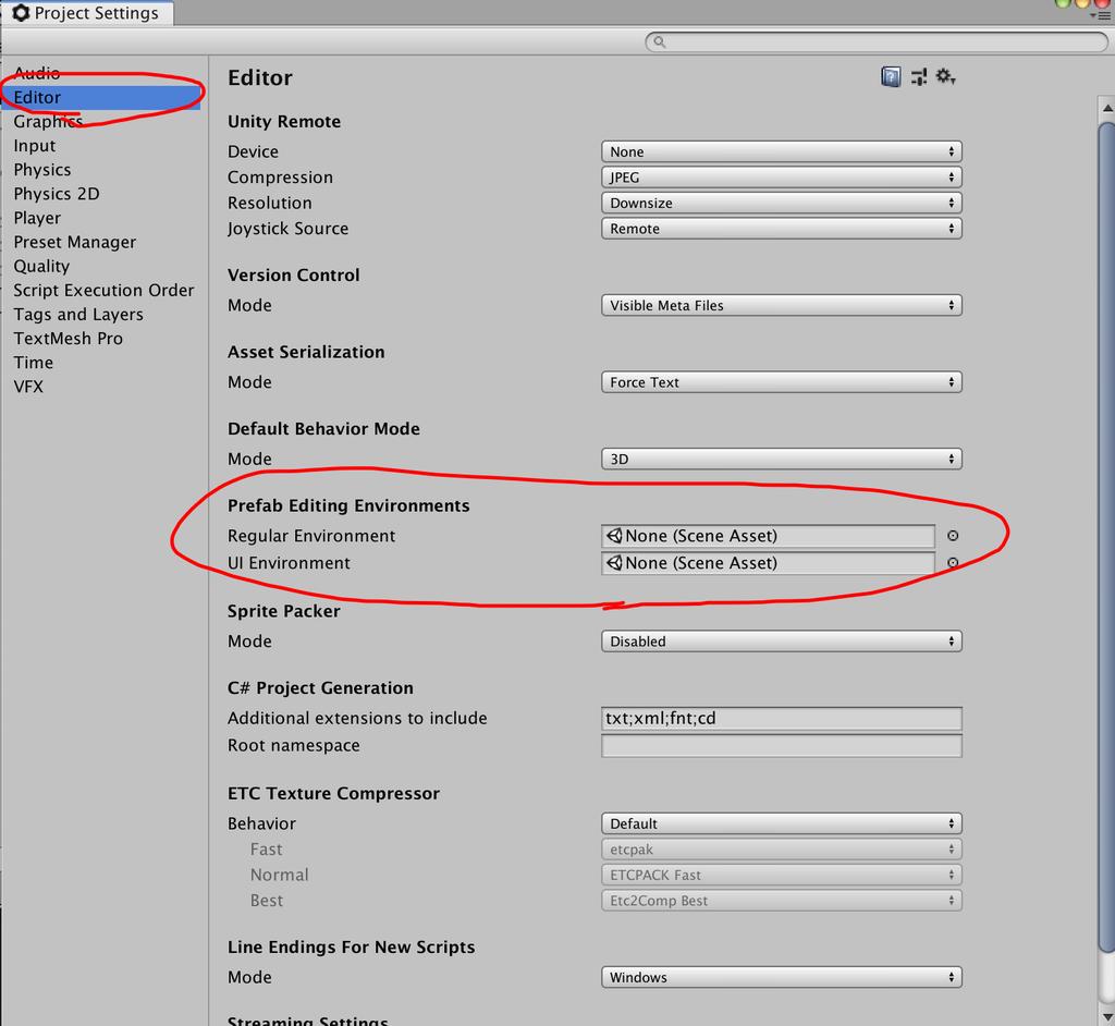 prefab editing environments