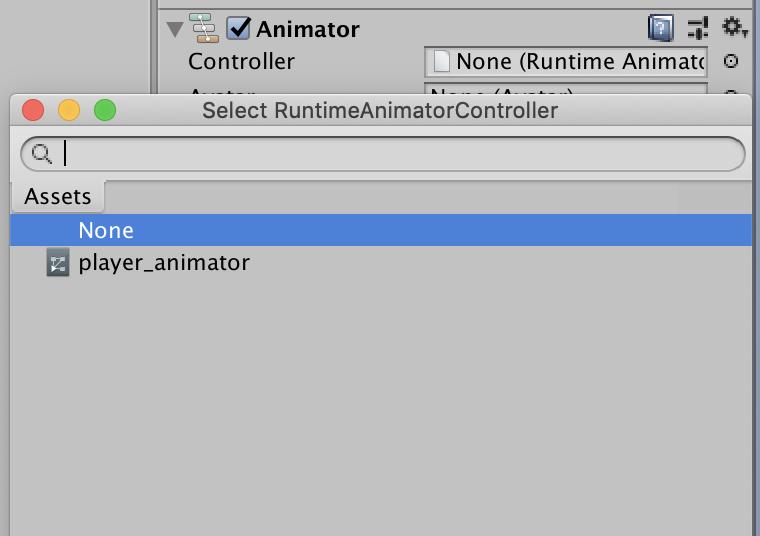 attach animator controller