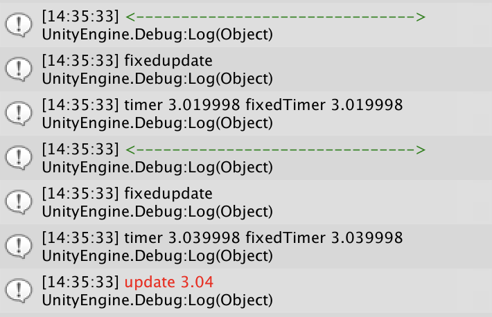 Log of heavy physics call update time