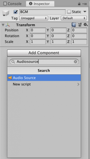 add component audio clip