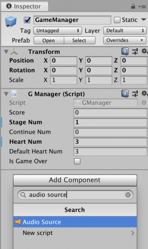 add audio source game manager