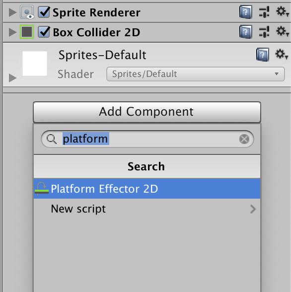 add component platform effector 2d