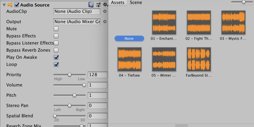 select audio clip
