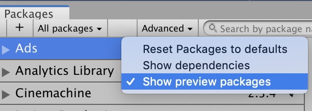 package manager show preview