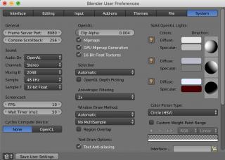 blender user preferences system