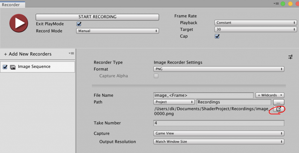 Unity Recorder Take File