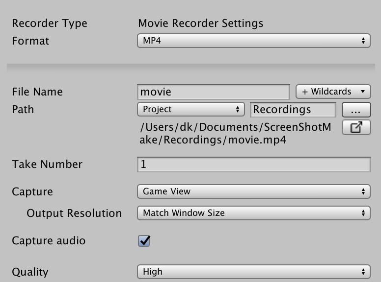 unity recorder movie
