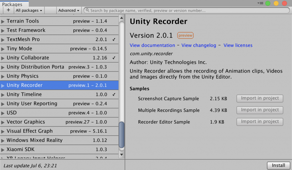 unity recorder package