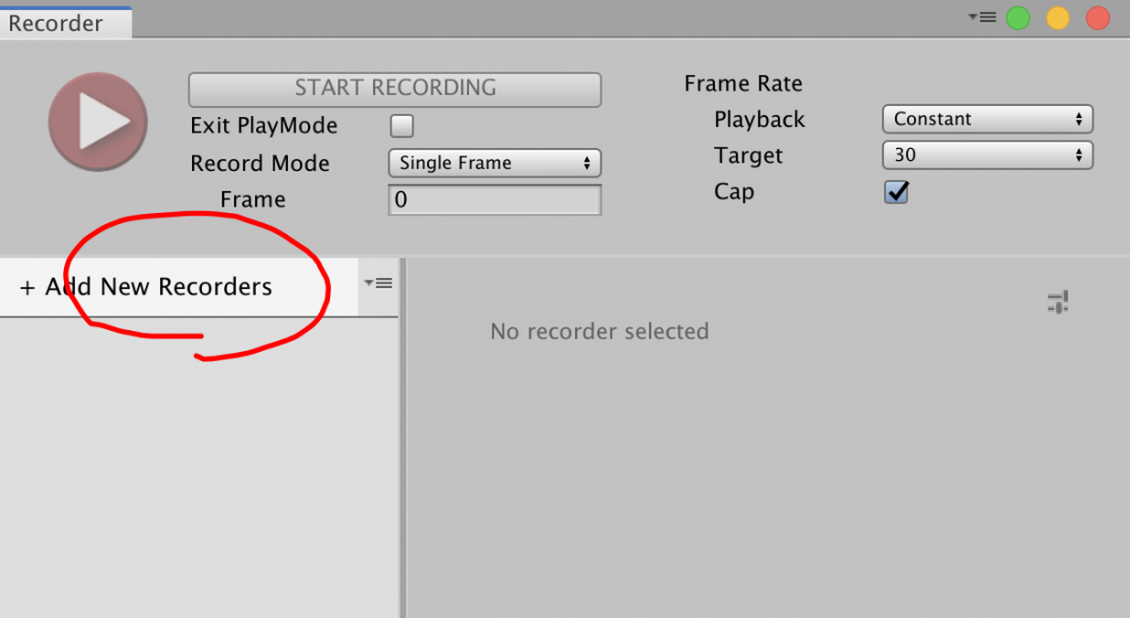 unity recorder window