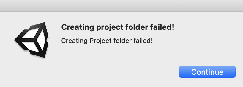 creating project folder failed