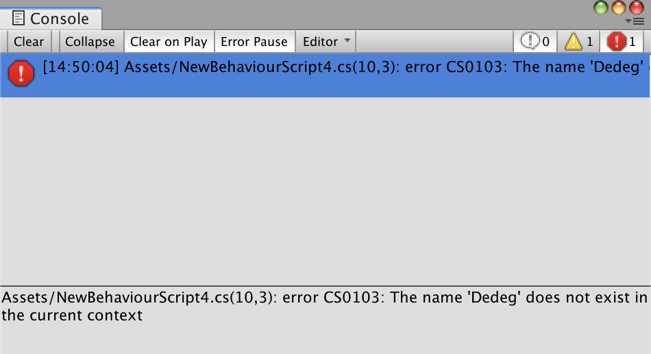 unity error log