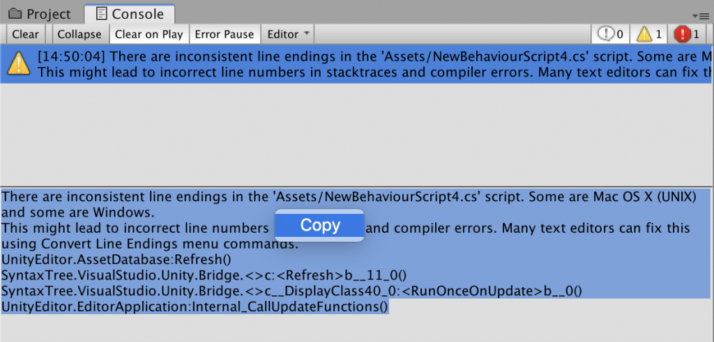 unity error log copy